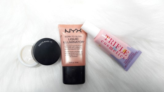 Emite Make Up Diamond Heart illuminating cream - NYX liquid illuminator LI02 Gleam - Trifle Cosmetics liquid luminizer glow